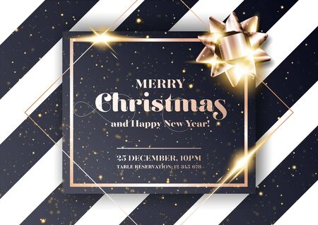Merry Christmas Vector Background. Minimalist Xmas 2020 Party Invitation, Card, Poster, Cover Template in Dark Black and Rose Gold Colors. Strict, Luxury, Chic, Elegant Style. Illusztráció