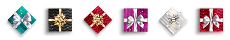 Set of Gift Boxes. Present with Ribbon and Bow. Design Element for Discount Voucher or Sale Coupon Template. Christmas Decoration. Isolated on White.