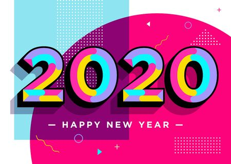 2020 Happy New Year Vector Card. Textured Numbers. Trendy Typography with Geometric Hipster Pattern in Memphis Style. Creative 2020 Logo Design. Colorful Xmas Background. Festive Christmas Banner. Ilustração