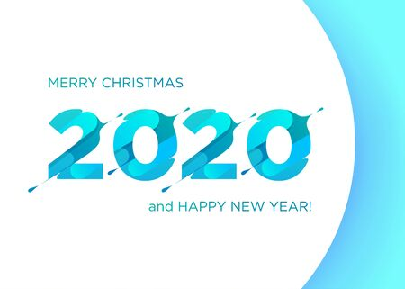 2020 Vector Liquid Numbers. Christmas Banner. Xmas Background Design. Calendar Cover Design. Creative Template for Christmas Poster, Greeting Card, Header, Image for Social Media, Website.