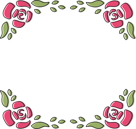 Rose Frame Doodle Stock Photo