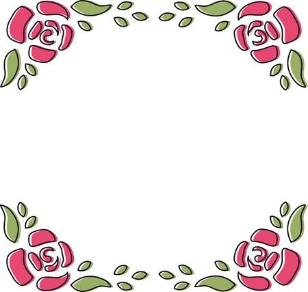 Rose Frame Doodle Stock Photo