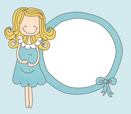 buikje: Lady Verwacht Boy Frame Stock Illustratie