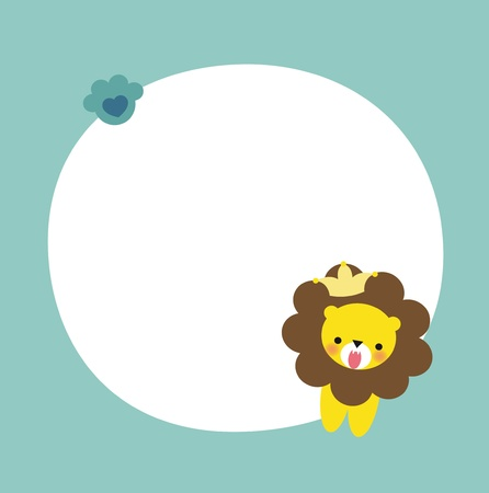 Cute Lion Frame Vector