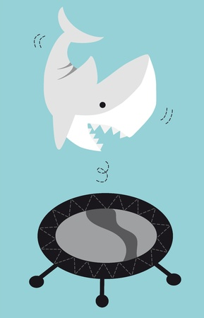 Shark Jumping On A Trampoline Stock Photo