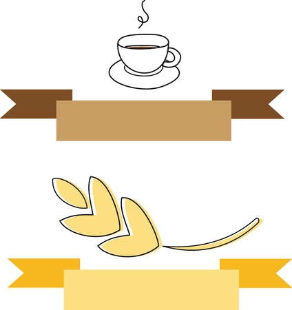 Coffee And Wheat Doodle Banner  Illustration