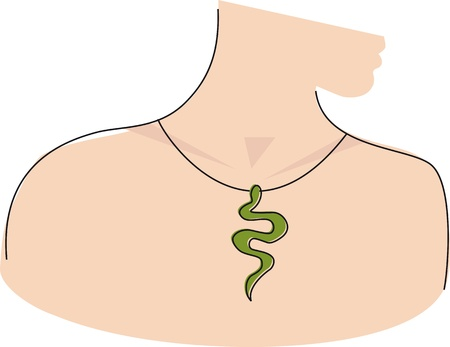 Woman Profile With Snake Pendant Illustration