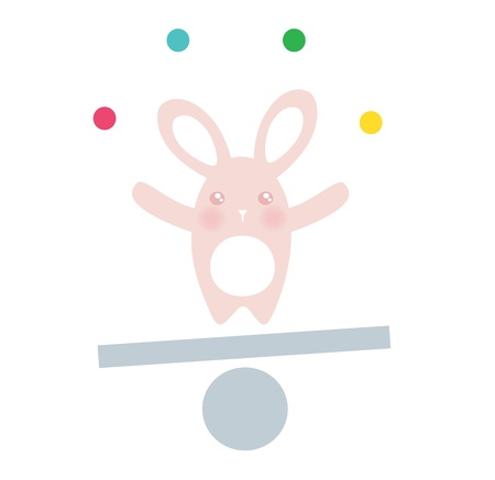 Cute Equilibrist Bunny Illustration