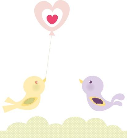 Birds Love Balloon Illustration