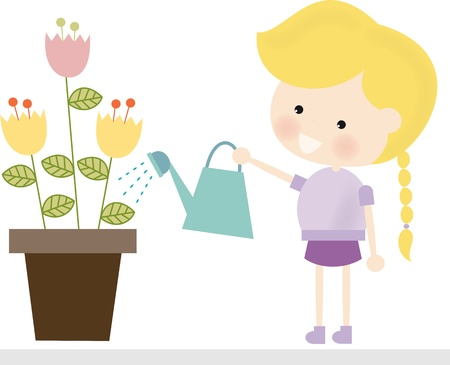 Blonde Girl Watering Flowers