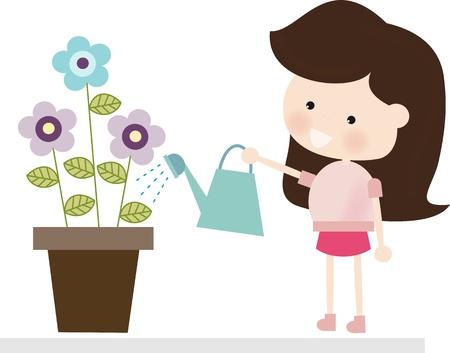 watering pot: Brunette Watering Flowers