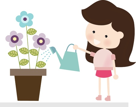 cute girl: Brunette Watering Flowers
