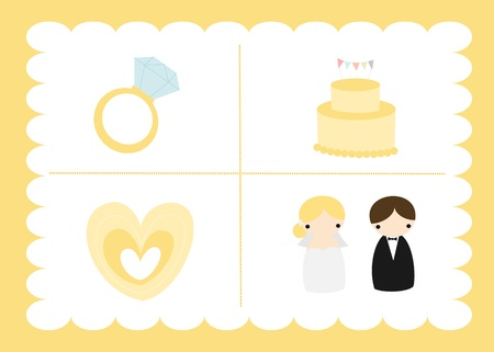 wedding cake: Yellow Wedding Set Illustration