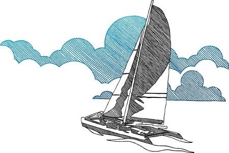 catamaran: Sailing boat Illustration