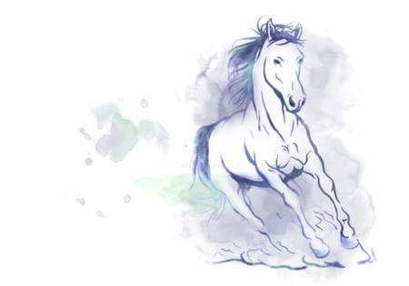 watercolored running horse Stock Photo - 9953634