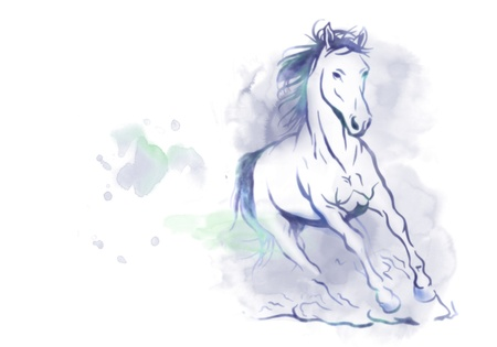horse running: watercolored running horse