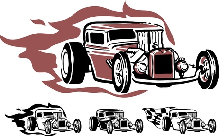 street rod: Illustration of hotrod