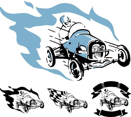 motor racing: Illustration of vintage racing car