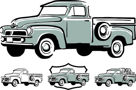 lkw stra�e: Illustration von Vintage-Pickup Illustration