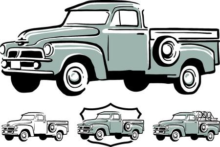 Illustration of vintage pick up truck Vectores