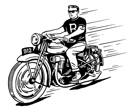 tough man: Illustration of rebel on vintage classic motorcycle