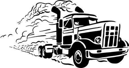 흰색 배경에 트럭의 그림 일러스트
