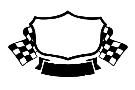 Illustration of blank racing emblem on white background. Vector