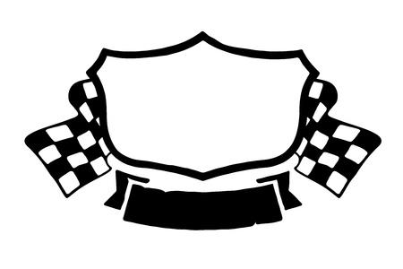 bandera carrera: Ilustraci�n del emblema de las carreras en blanco sobre fondo blanco. Vectores
