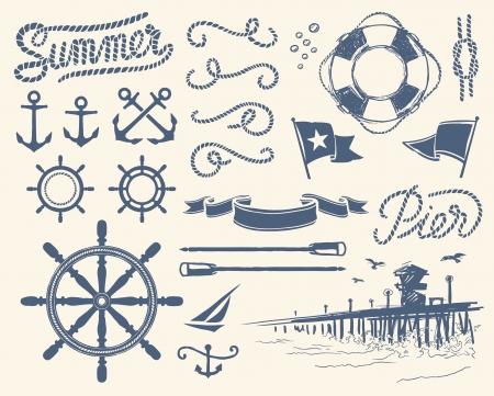 Vintage nautical set Vectores