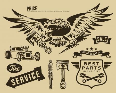 Vintage eagle and auto-moto parts Vectores