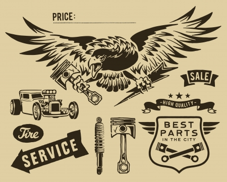 dirty car: Vintage eagle and auto-moto parts Illustration