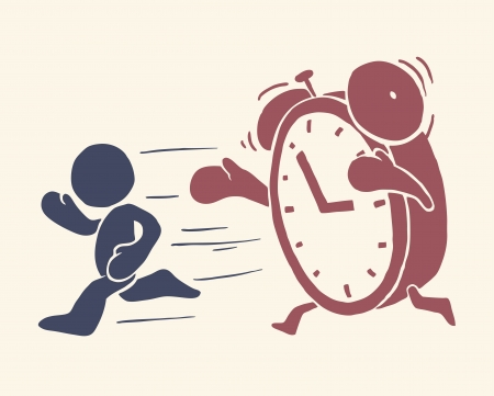 Vintage conceptual illustration of time is running out Vector