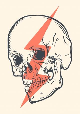 사용 개념에 대한 인간의 두개골의 빈티지 그림 일러스트