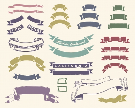 Vintage ribbons set Illustration
