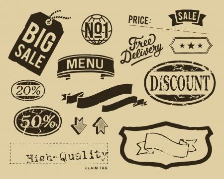 Vintage verkoop grafische elementen instellen Stock Illustratie