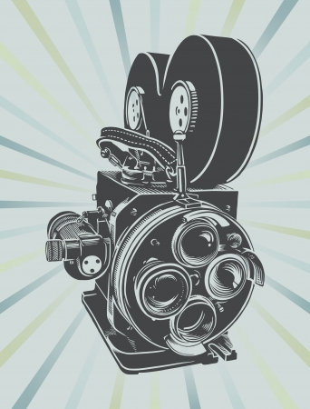 Vector illustration of a vintage video camera  Çizim