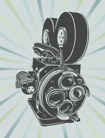 blockbuster: Vector illustration of a vintage video camera  Illustration