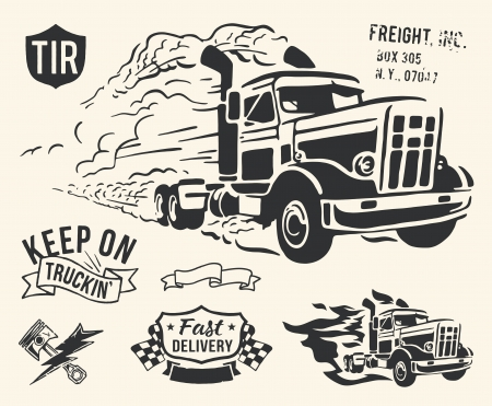 Thème de livraison par camion Vintage isolé sur fond blanc cassé Vecteurs