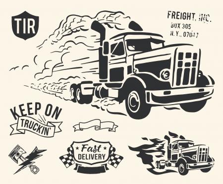 camion de bomberos: Vintage aislados tema de entrega de camiones en el fondo blanco de