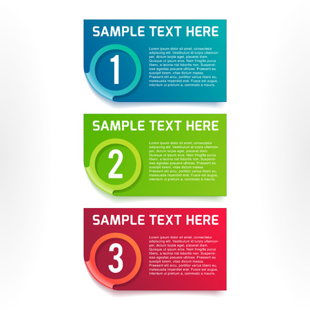 One, two, three vector colorful option banners