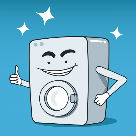 Vector illustration of vintage washing machine cartoon character Vector