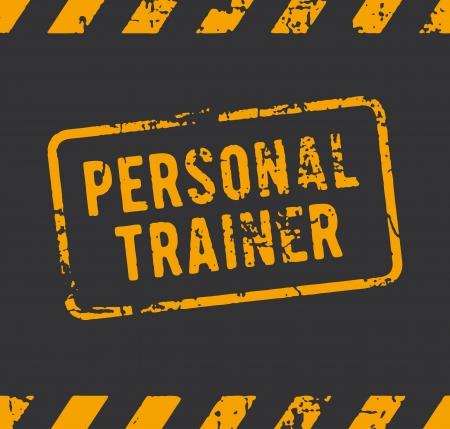 fitness training: Rubber stempel met de tekst personal trainer