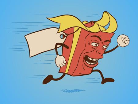 고립 된 재미있는 선물 상자 만화 캐릭터 빠른 실행