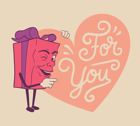 Isolated cute valentines gift box cartoon character and heart with text for you