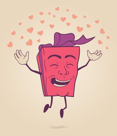 발렌타인 데이 선물 상자 행복 만화 캐릭터가 마음에 점프 일러스트