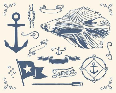 Vintage nautical set Illustration