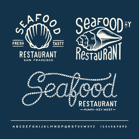 Vintage seafood restaurant layout with handwritten alphabet Vector