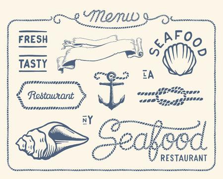 mar: Colección restaurante de mariscos de la vendimia Vectores