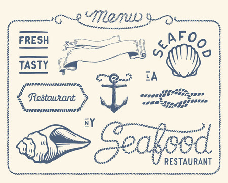 nautical flags: Vintage seafood restaurant collection Illustration
