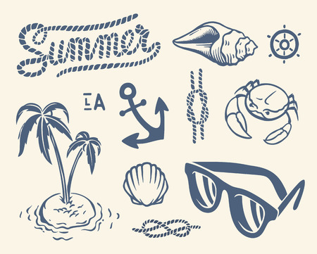 Vintage summer collection of nautical icons, symbols and illustrations Vector